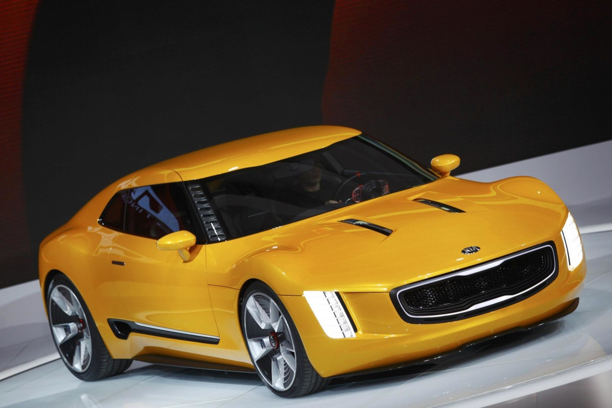 The Kia GT4 Stinger concept car at the North American International Auto Show in Detroit