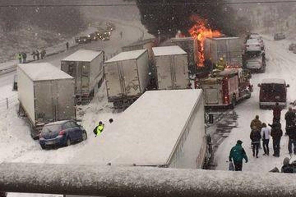 Image: Multi-semi accident in Lafayette, Ind.