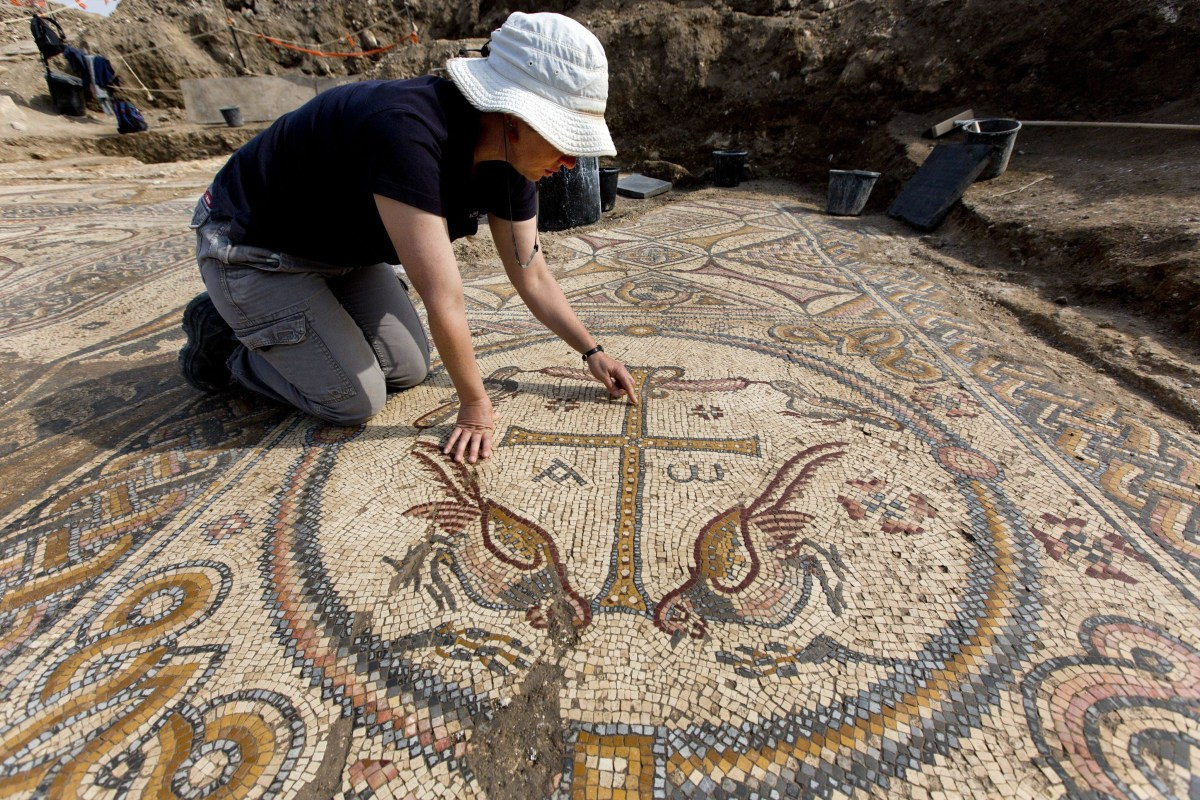 Image: Archaeological excavation in Alum where Byzantine church mosaic found