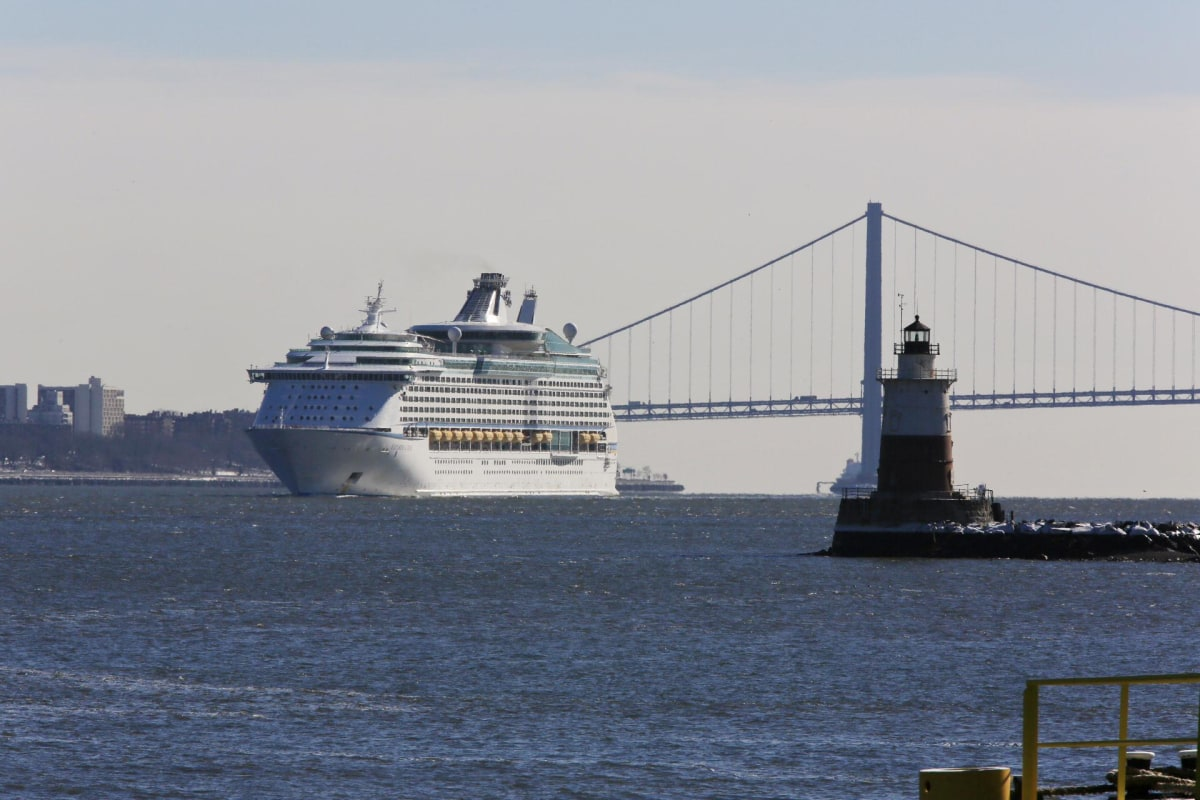 The Explorer of the Seas heads to port in Bayonne, N.J.