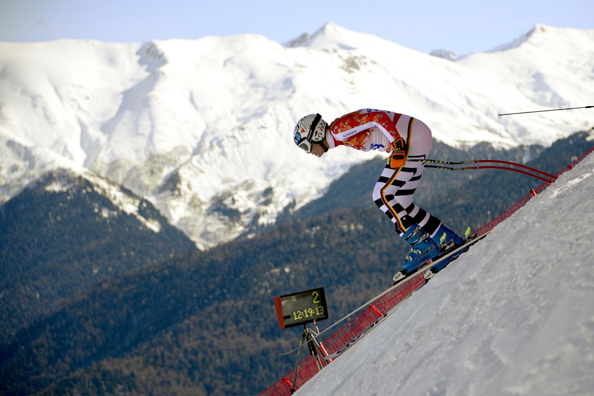 Germany's Maria Hoefl-Riesch takes part in a Women's Alpine Skiing Downhill training session at the Rosa Khutor Alpine Center on Feb. 7 before the start of the Sochi Winter Olympics.