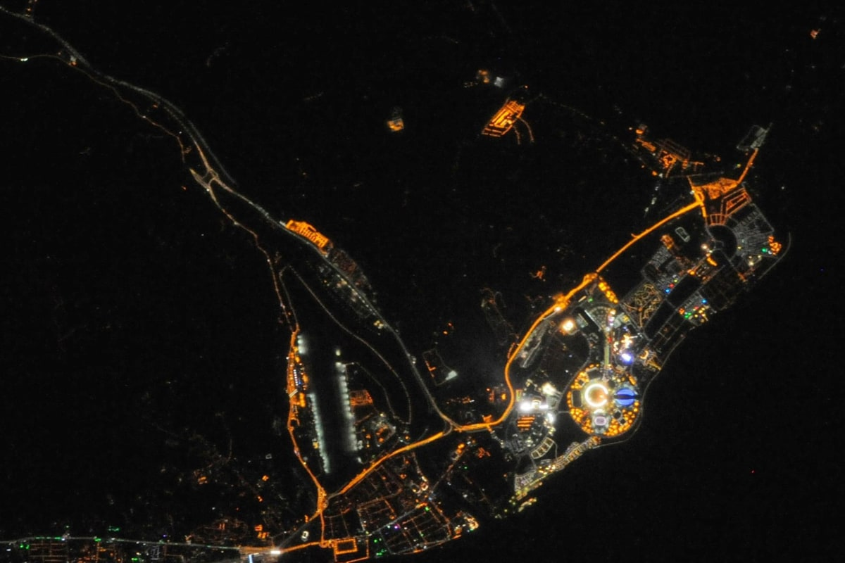 Image: The colorful lights of the Sochi Olympics glow in the night, in a Feb. 10 picture from the International Space Station.