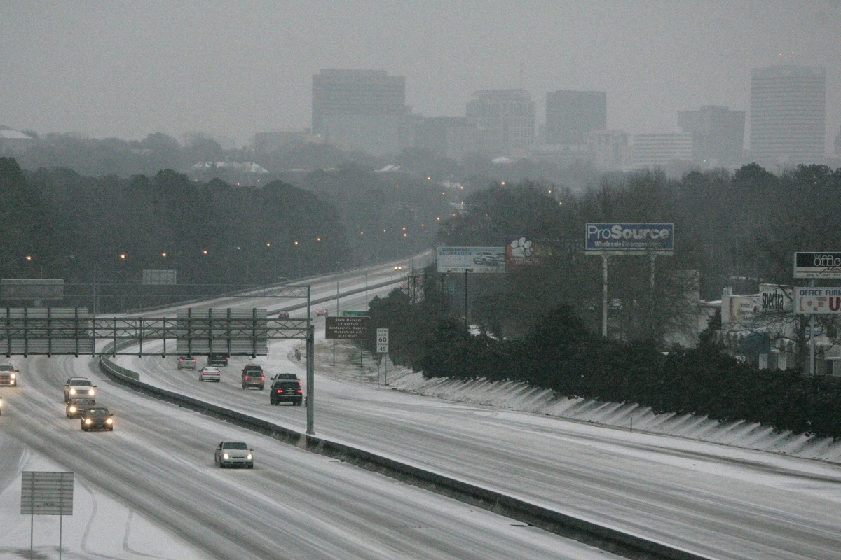Image: Ice and snow cover Interstate 26 in Columbia, S.C.,