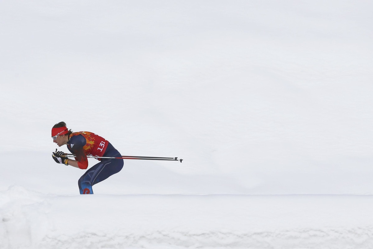 Image: Russia's Vylegzhanin skis during men's cross-country team sprint classic final at 2014 Sochi Olympic Games