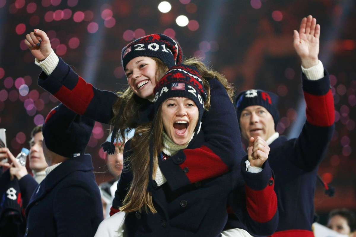 Image: Members of the U.S. team celebrate during the closing ceremony for the Sochi 2014 Winter Olympics