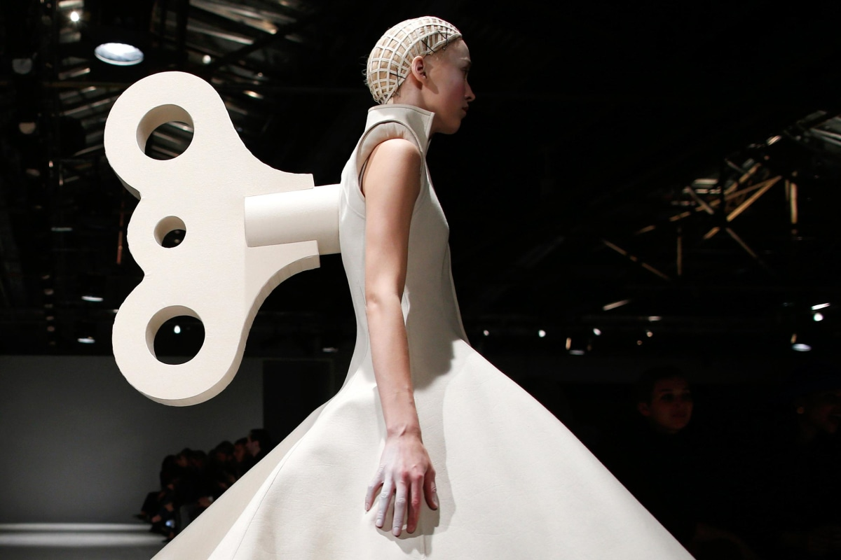 Image: A model presents a creation by designer Gareth Pugh as part of his Fall/Winter 2014-2015 women's ready-to-wear collection show during Paris Fashion Week