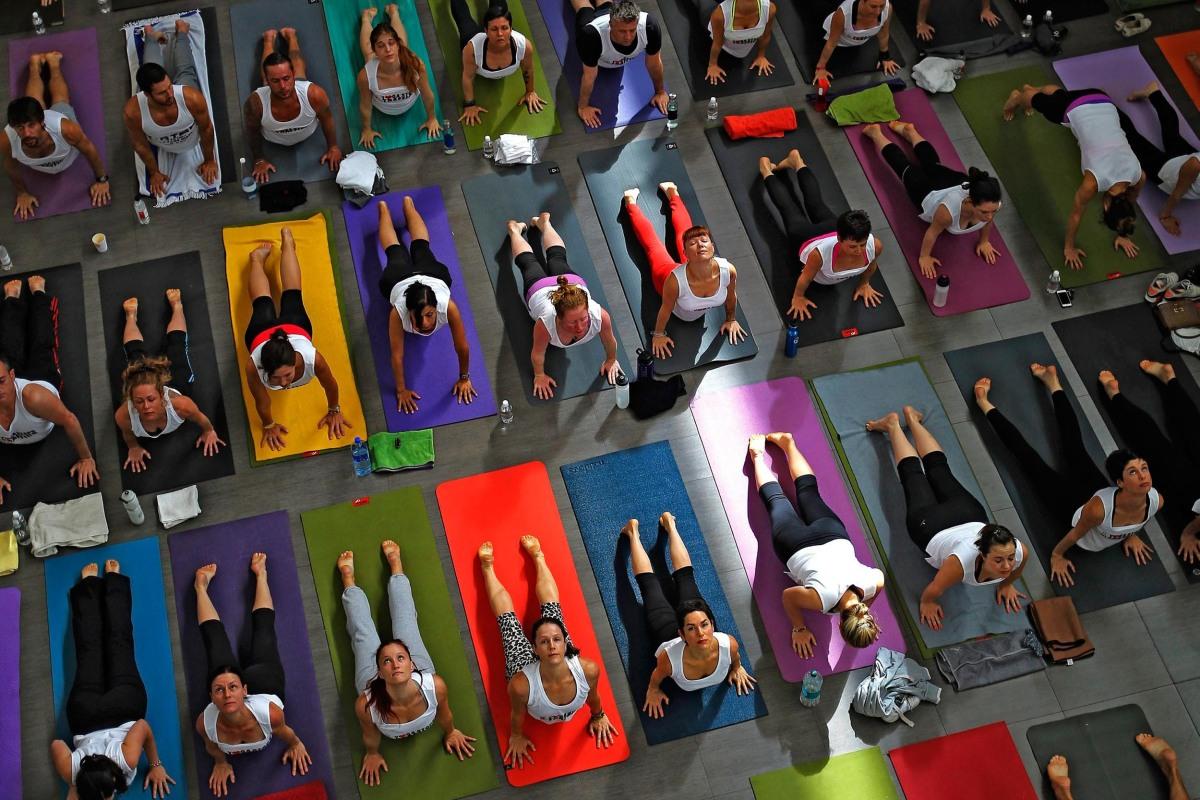 Image: Yoga stops human trafficking awareness