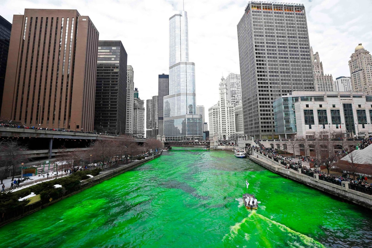 Image: The Chicago River is dyed green during St. Patrick's Day celebrations in Chicago