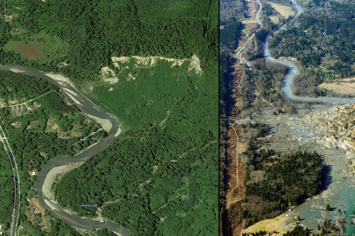 Before and After: Mudslide in Oso, Washington