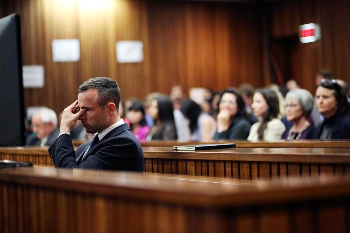 Oscar Pistorius Trial Pistorius Covers Eyes,...