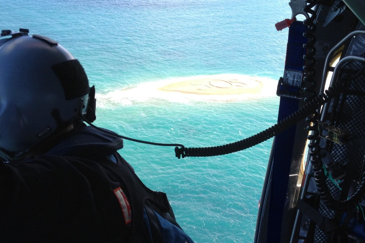 "Five marooned snorkelers were rescued after the huge ""SOS"" message they scrawled in a sandbar was spotted by a helicopter. The group was winched to safety after their boat broke its anchor and drifted while they were exploring a rocky outcrop off Australi"