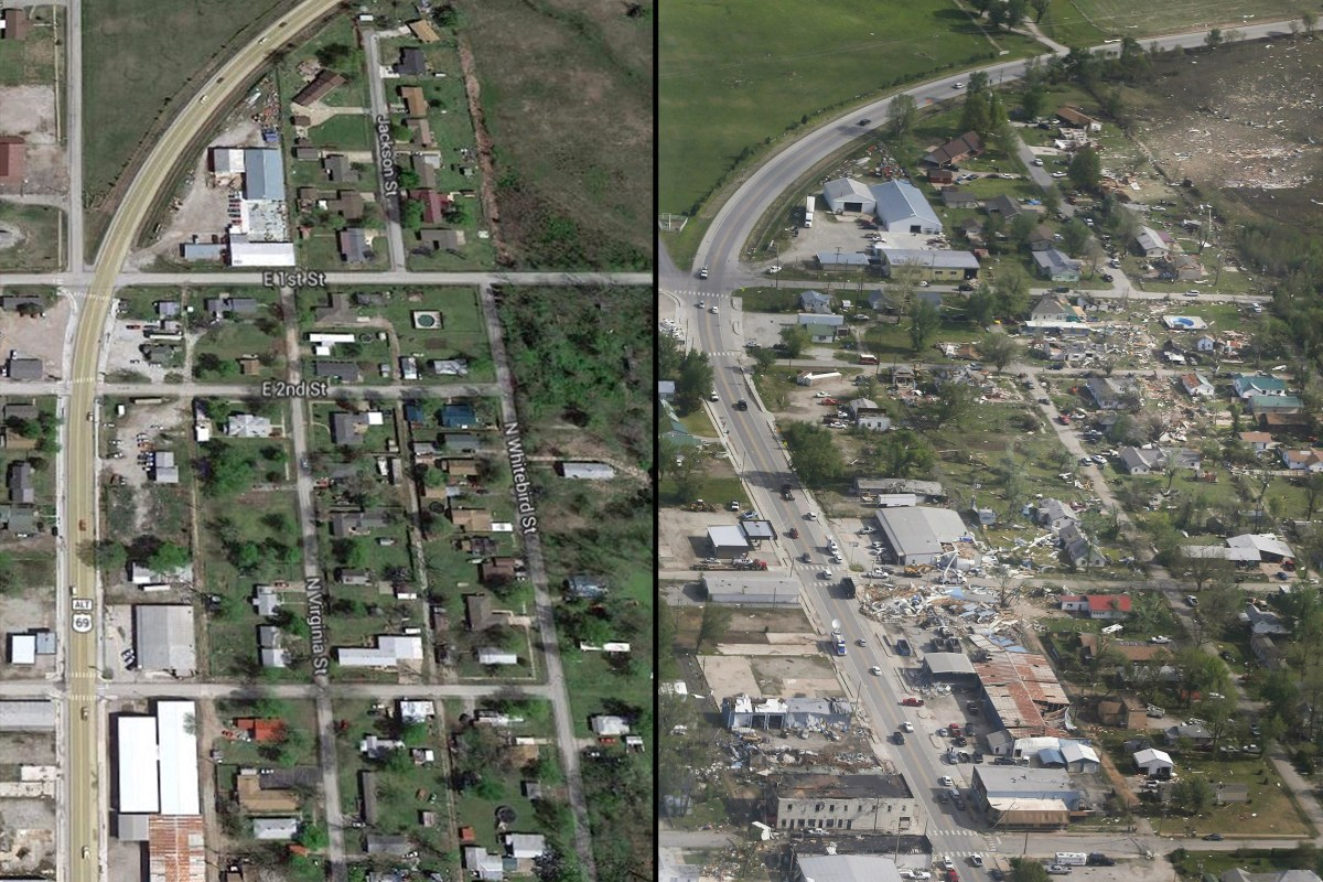 Before and After: Tornado Tears Through Oklahoma Town ...