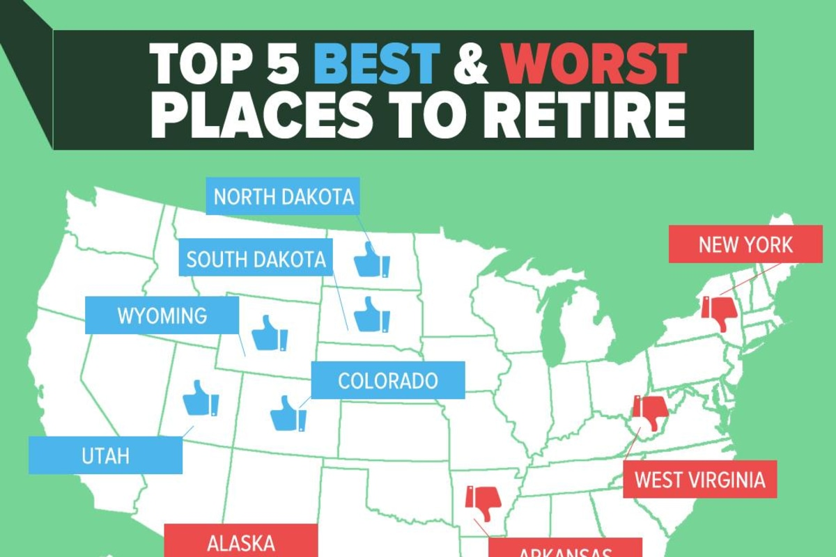Infographic top 5 best and worst places to retire nbc news for Top 5 places to live in usa