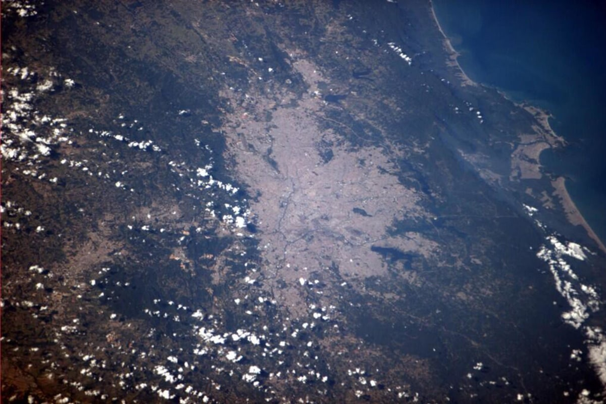 Image: Astronaut Reid Wiseman tweeted out a photo of Sao Paulo, as seen from the International Space Station on Thursday.