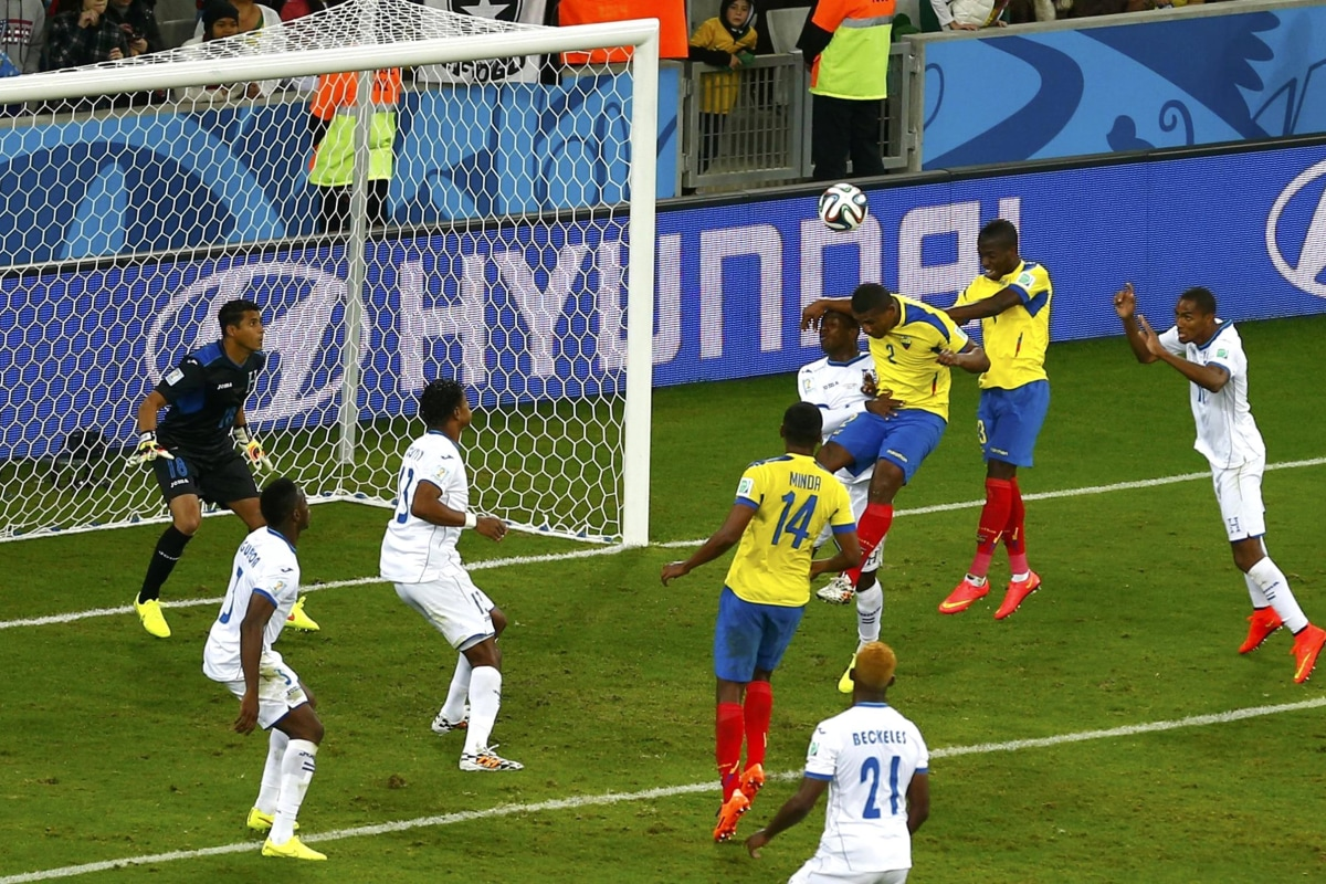 Image: Ecuador's Valencia heads the ball to score the team's second goal against Honduras during their 2014 World Cup Group E soccer match at the Baixada arena in Curitiba