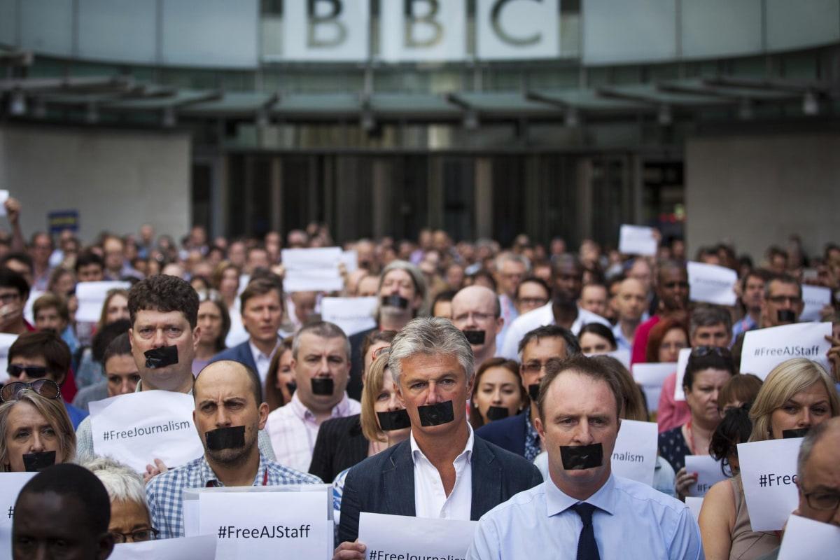 Image: Protests Against The Jailed Al-Jazeera Journalists