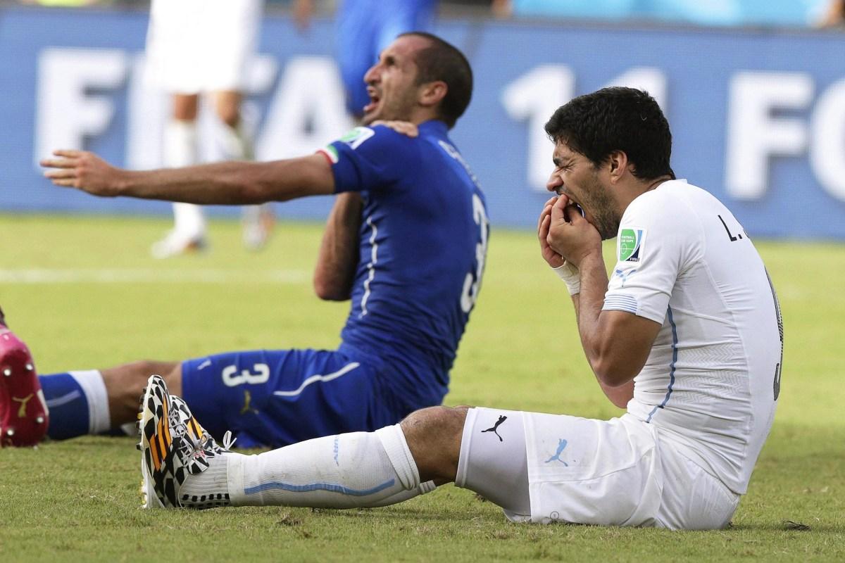 Image: Italy's Giorgio Chiellini claims he was bitten by Uruguay's Luis Suarez