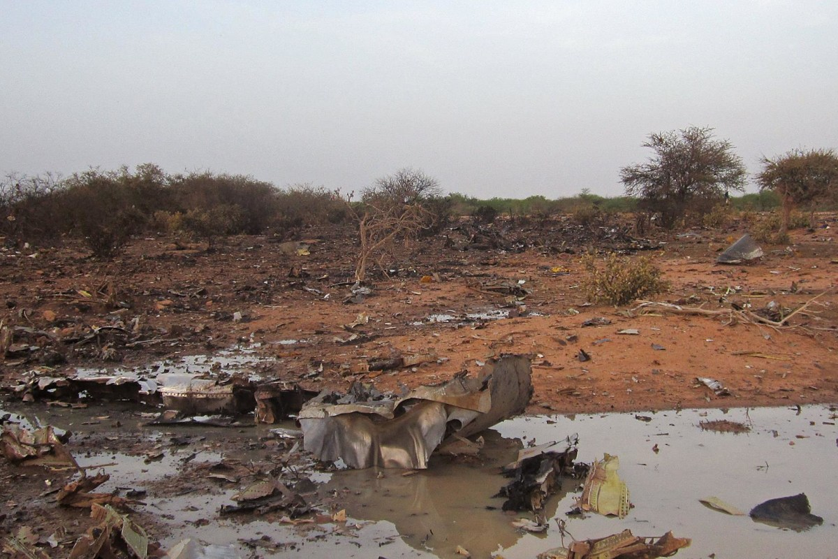 Image: The site of the plane crash in Mali.