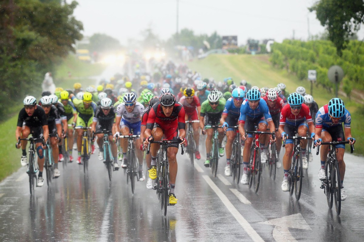 Image: Marcus Burghardt of Germany and BMC Racing Team leads the pack during the nineteenth stage of the 2014 Tour de France, a 129 mile stage between Maubourguet Pays du Val d'Adour and Bergerac, on Friday in Bergerac, France.