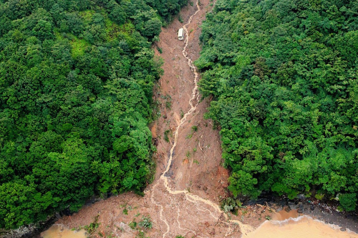 Image: A landslide hit a car park of the YMCA Anan Kokusai Kaiyo Center