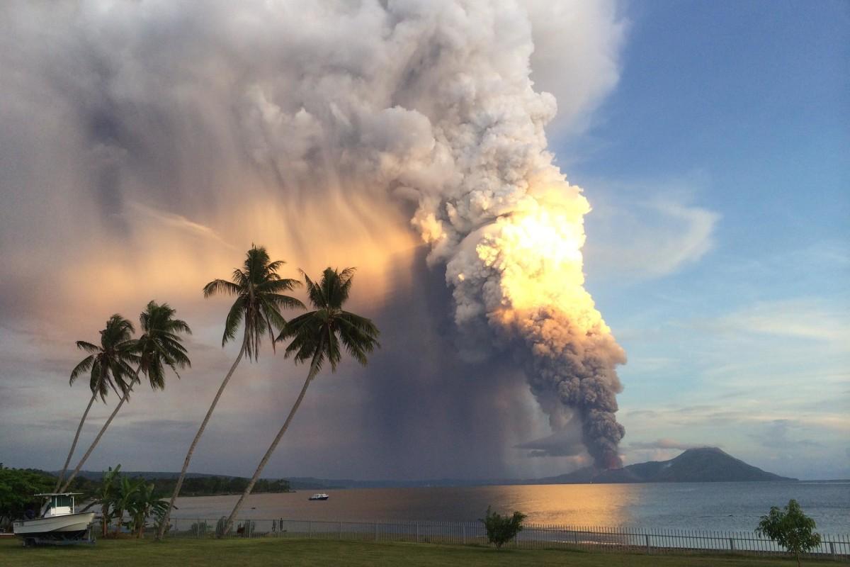 Image: Mount Tavurvur erupting in eastern Papua New Guinea