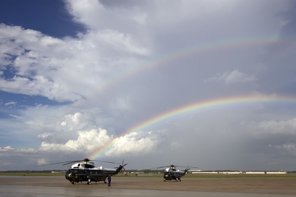 Image: A rainbow appeared over Marine One minutes before President Barack Obama landed at Andrews Air Force Base, Md., on Sept. 1.
