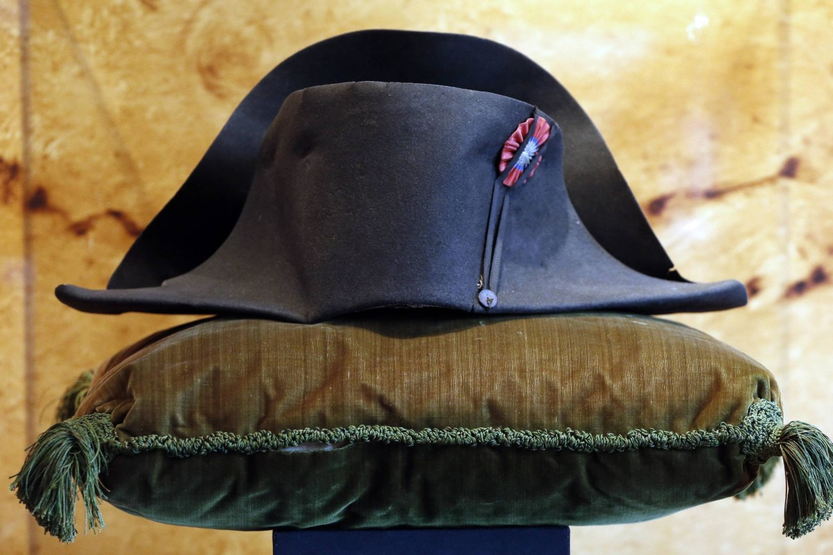 Image: File picture shows a black felt two-cornered hat belonging to French Emperor Napoleon Bonaparte displayed at the Osenat auction house in Paris