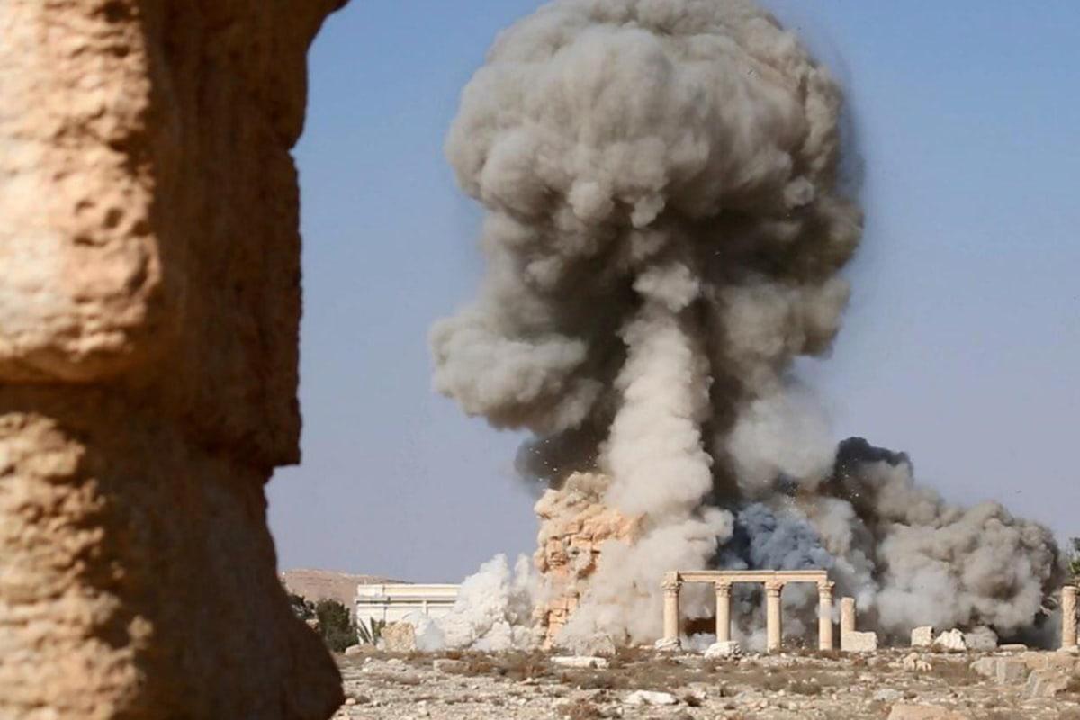 Image: ISIS image showing smoke at Baal Shamin temple