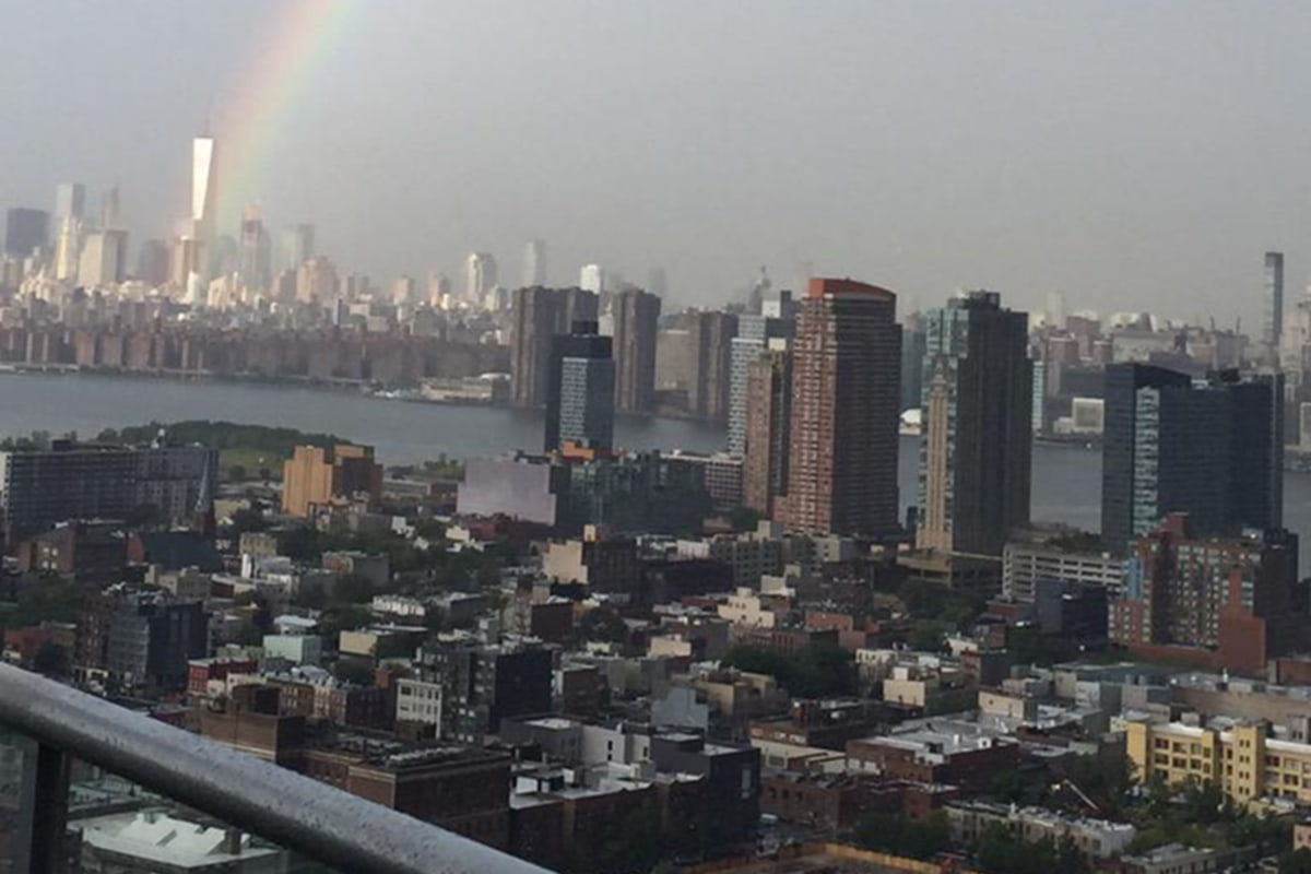 Image: A rainbow is seen over lower Manhattan on Sept. 10, 2015.