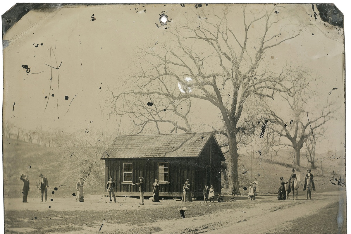 Image: Handout of a newly discovered 4x5 inch tintype photograph featuring legendary Wild West gunslinger Billy the Kid playing croquet with accomplices from his New Mexico gang known as the Regulators