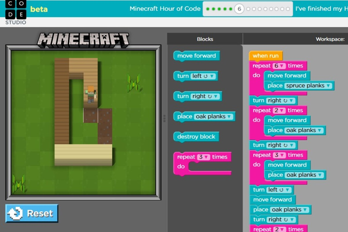 Hour of Code - Minecraft Part 2 [Puzzle 5 - 8 ] - YouTube