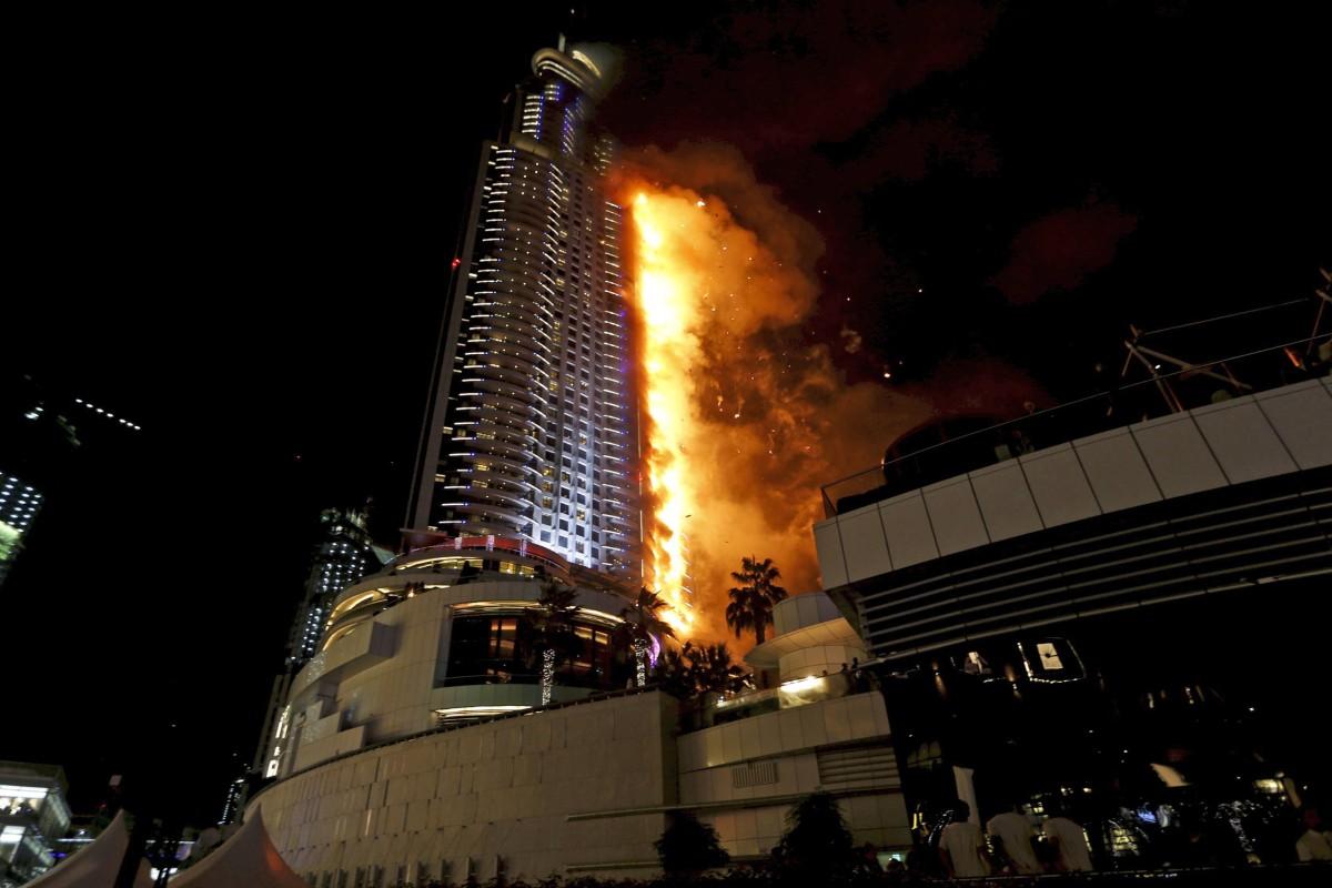 Fire breaks out in dubai skyscraper near the burj khalifa for Exclusive hotel dubai