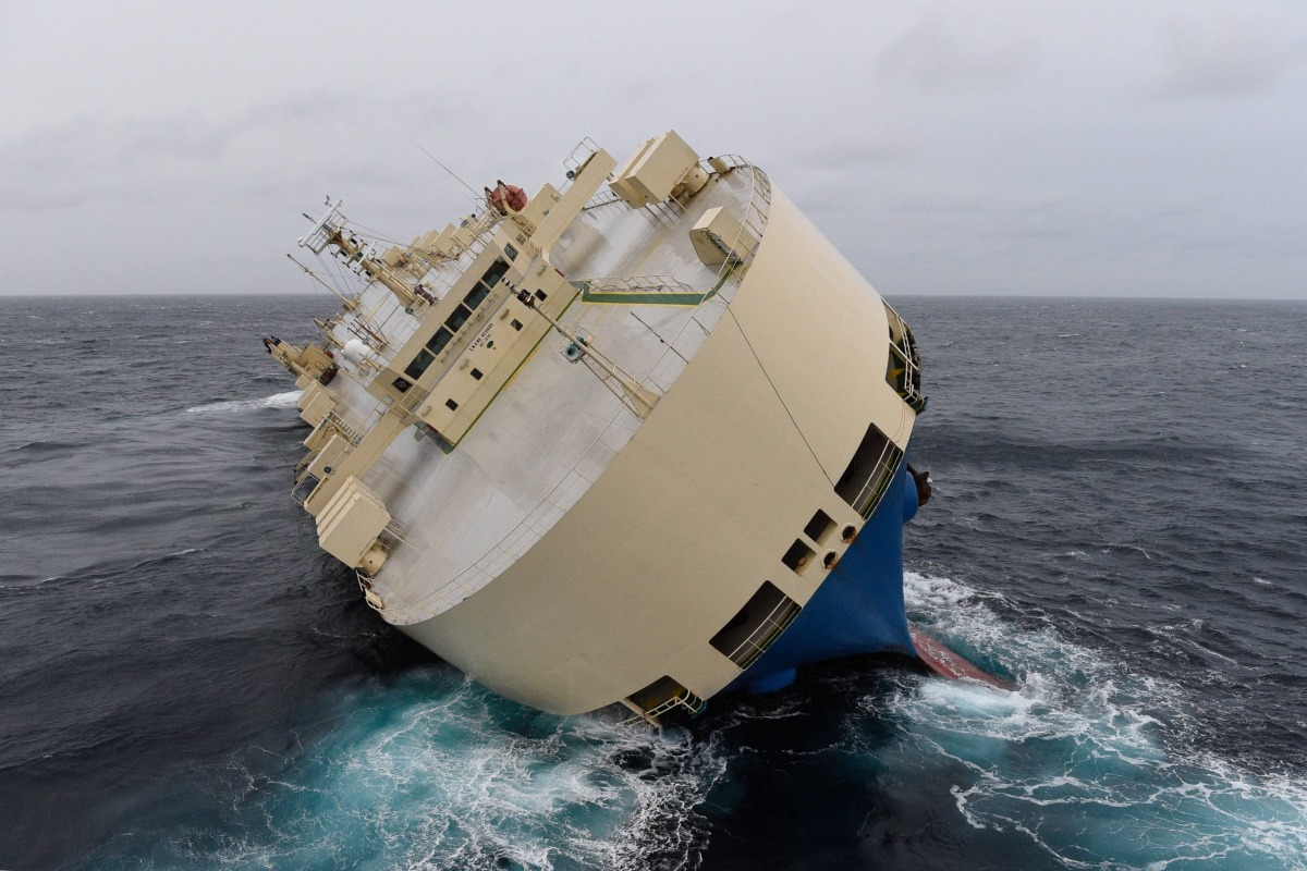 Capsized Cargo Ship Drifting in Rough Seas off French ...