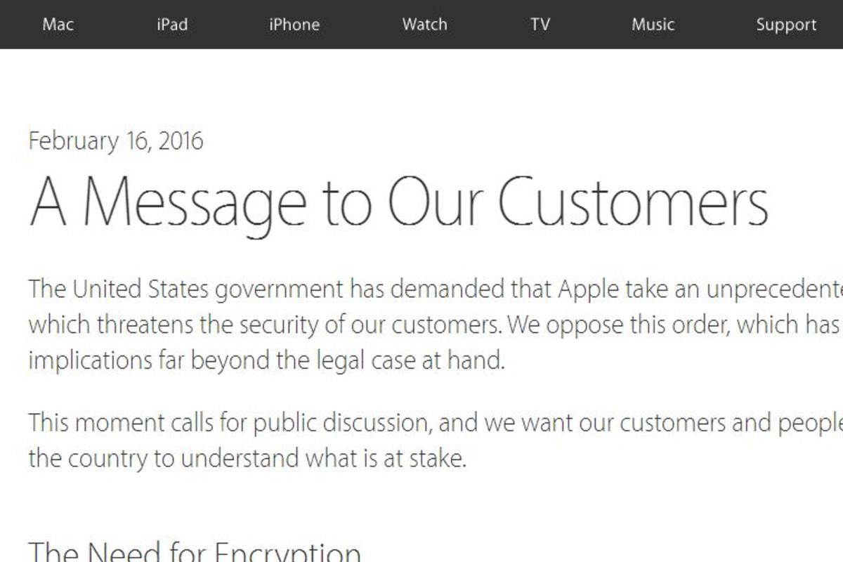 Full Text Of Apple CEO Tim Cooks Open Letter On FBI Court