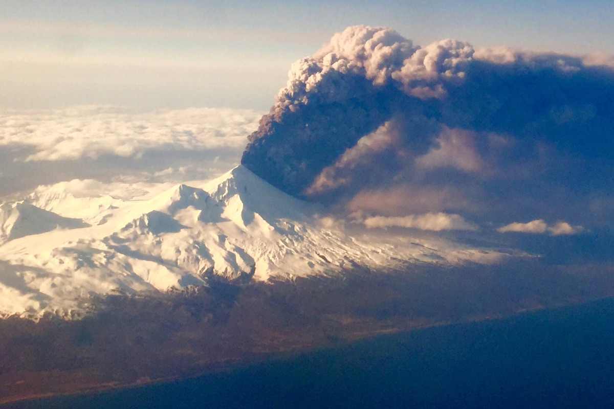 Image: Pavlof Volcano, one of Alaska's most active volcanoes, erupts