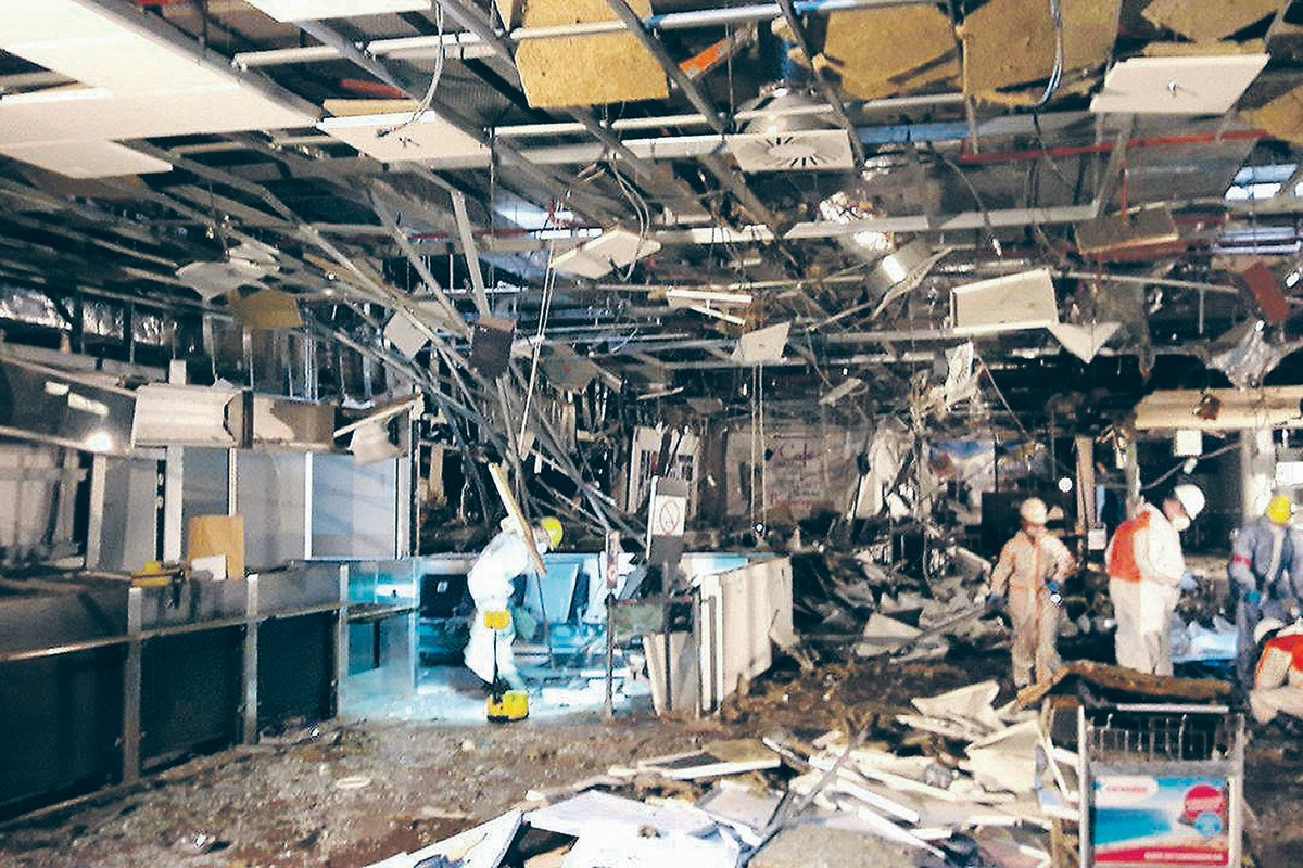 Image: Damage seen inside the departure terminal following the March 22, 2016 bombing at Zaventem Airport, in these photos made available to Reuters by the Belgian newspaper Het Nieuwsblad