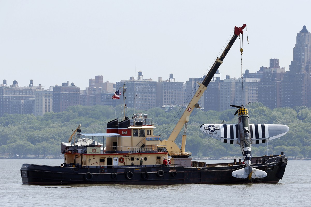 Image: Officials remove a plane out of the Hudson River