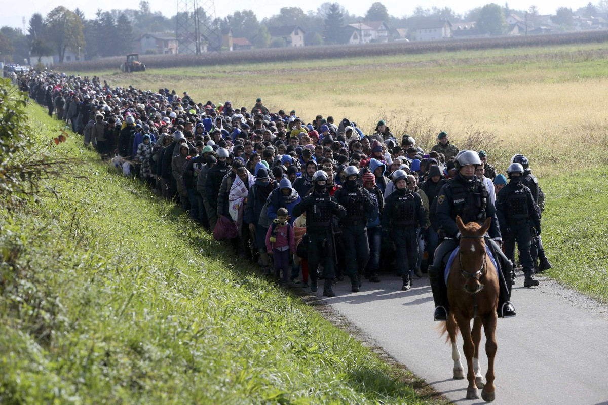 Image: A mounted policeman leads a group of migrants near Dobova