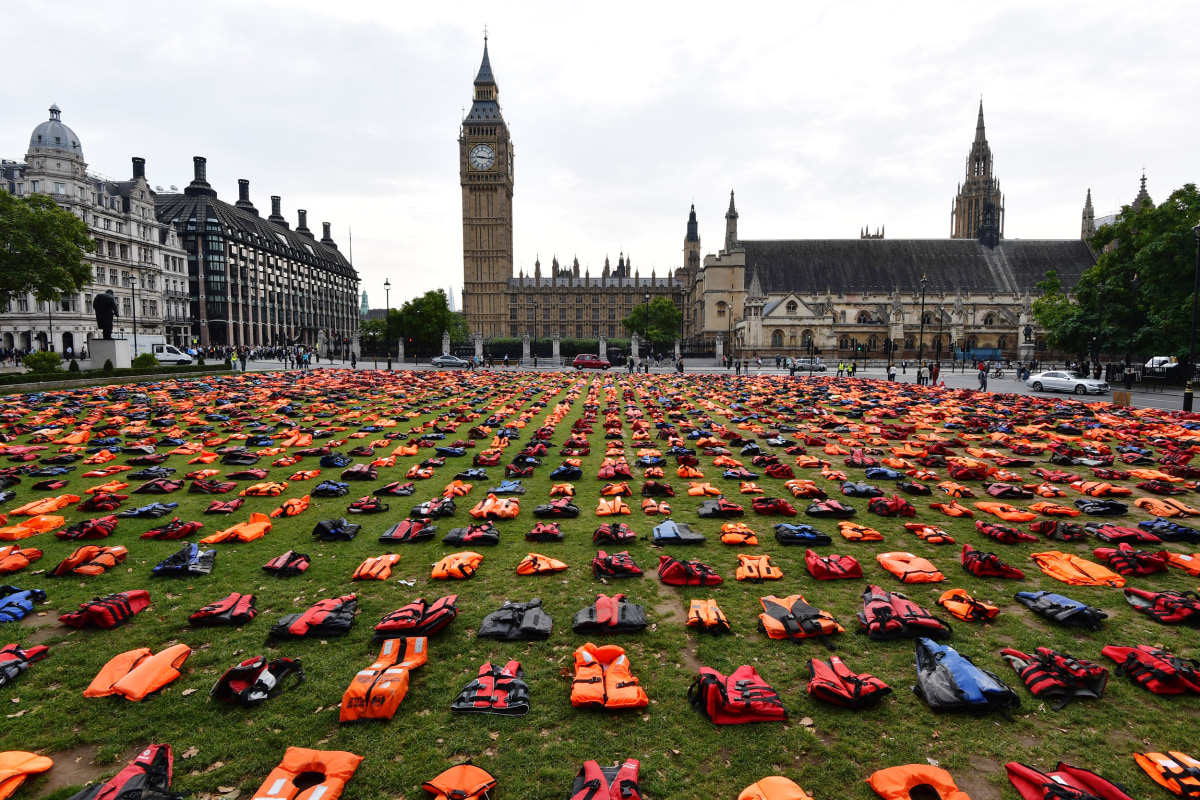 "Image: Protestors Create A ""Graveyard Of Lifejackets"" To Coincide With The UN Migration Summit"