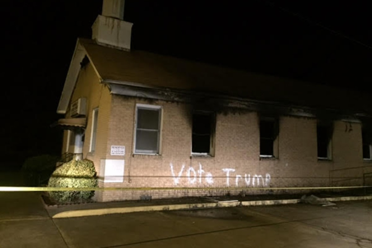 Mississippi church burned, vandalized with 'Vote Trump' graffiti