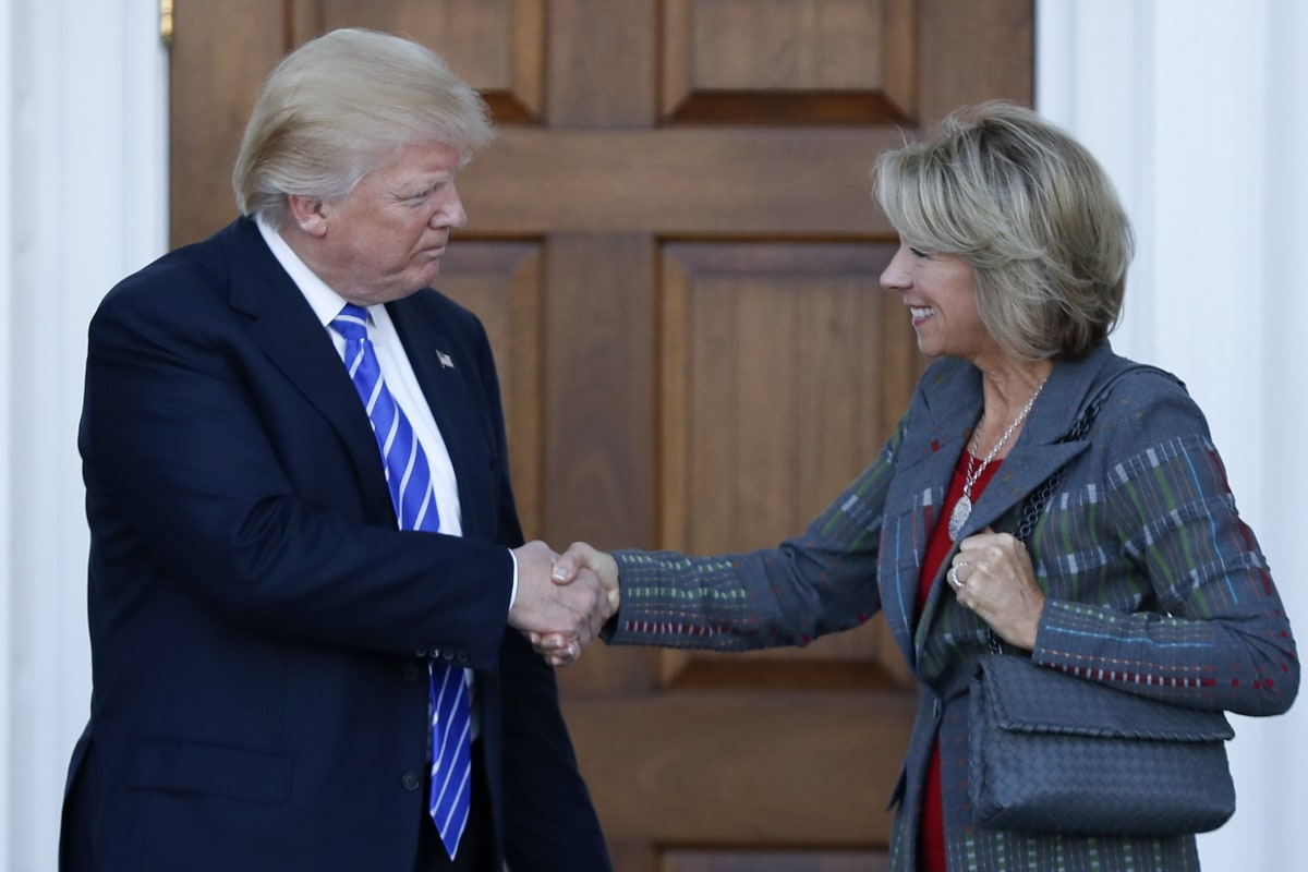 trump picks charter champion education secretary