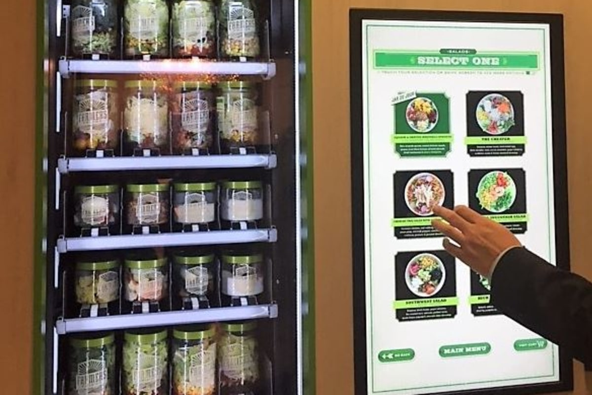 Get art, fresh salad or a charge from airport vending machines