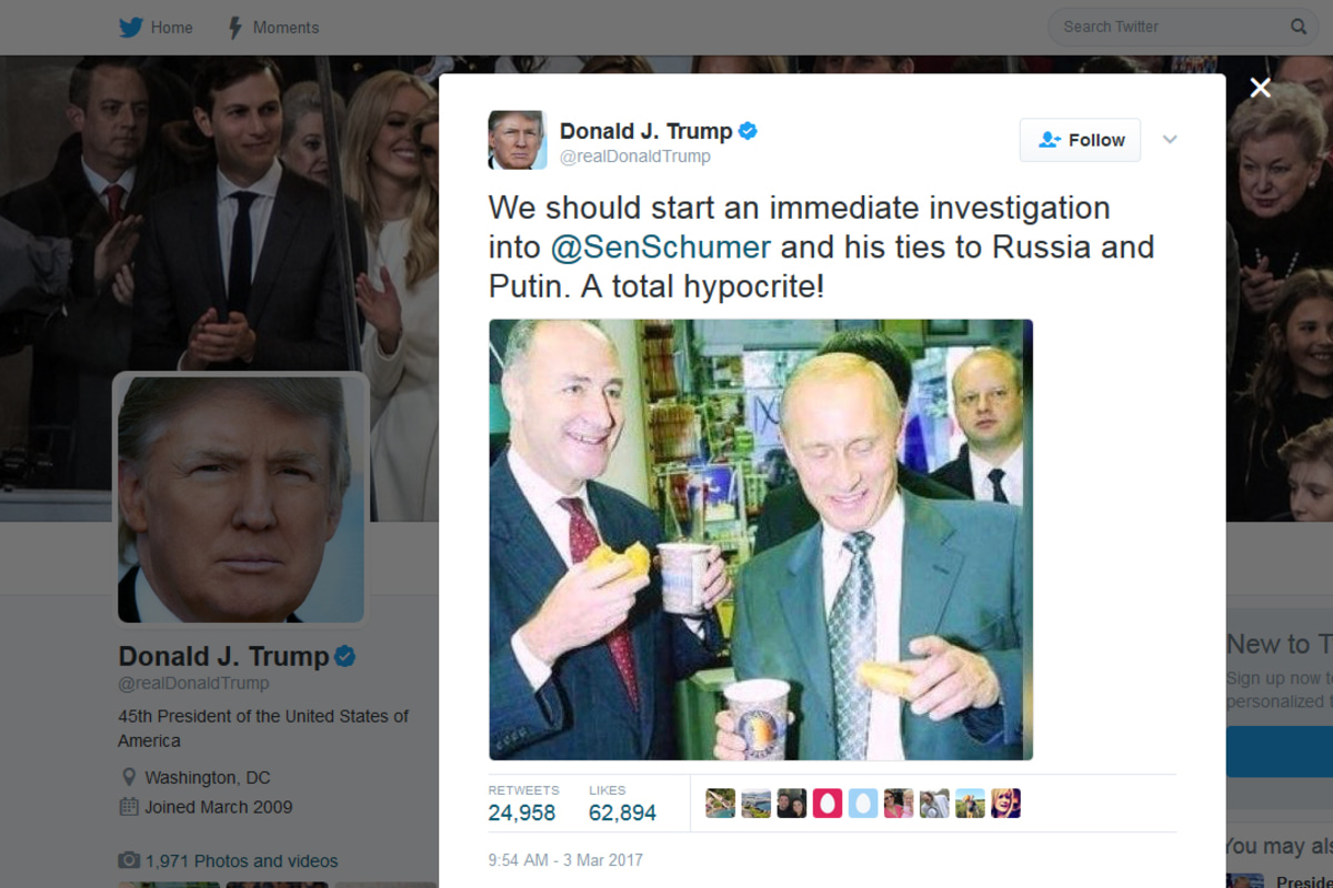 Trump Tweets Old Photo Of Schumer And Putin Calls For