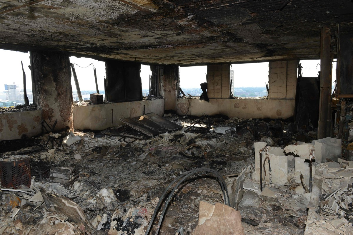 Image: The inside of Grenfell Tower in west London