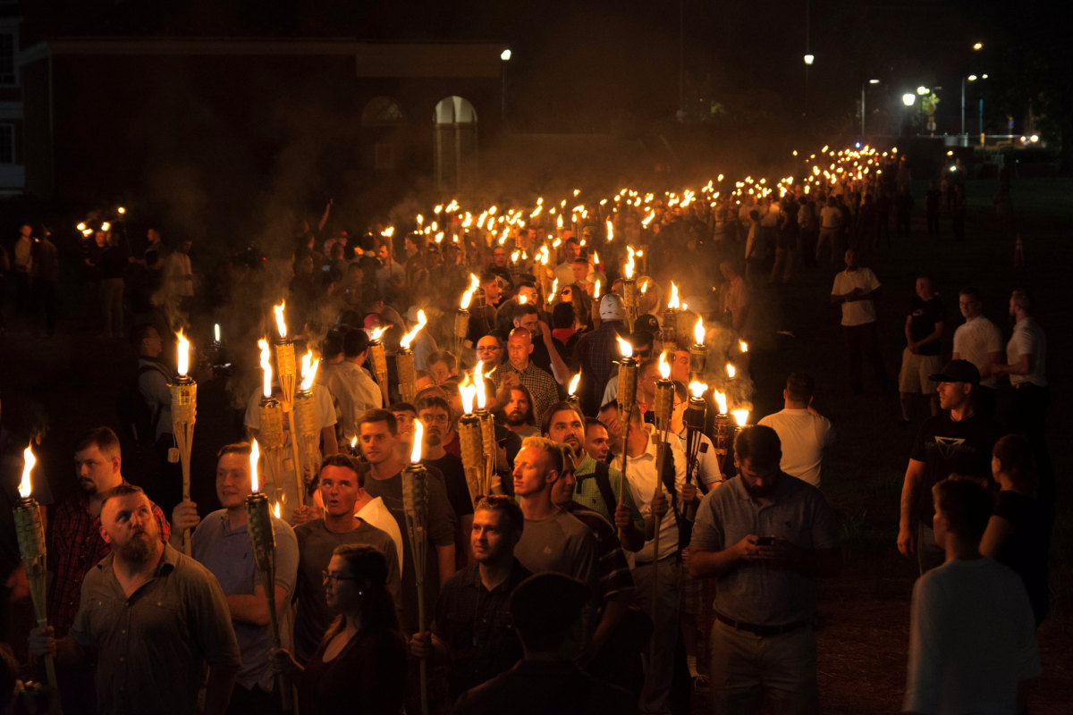 Hundreds of torch-wielding white supremacists march at University of Virginia