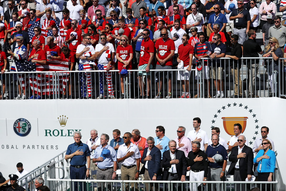 Obama, Bush, Clinton the center of attention at Presidents Cup Opening Ceremony