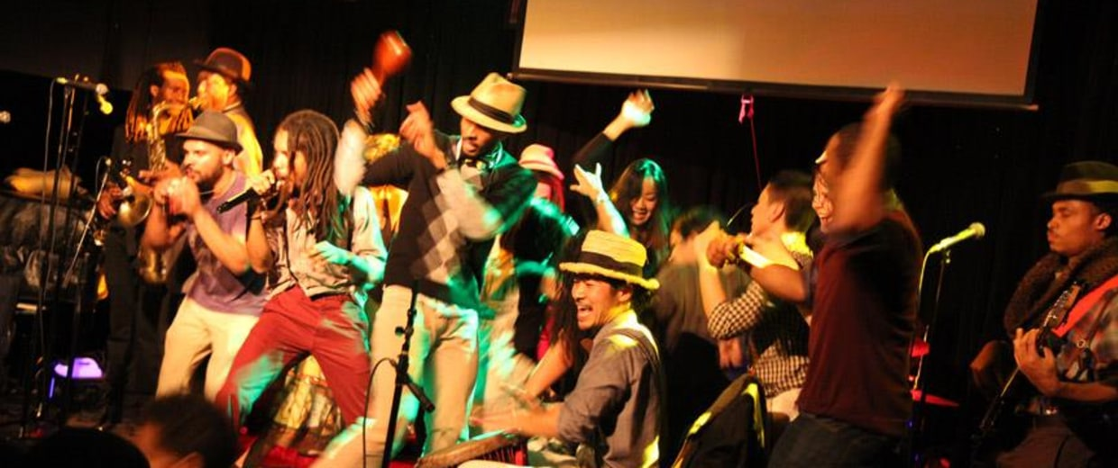 """Brown Rice Family performs at their """"Latin Goes Ska"""" release party in April 2014."""