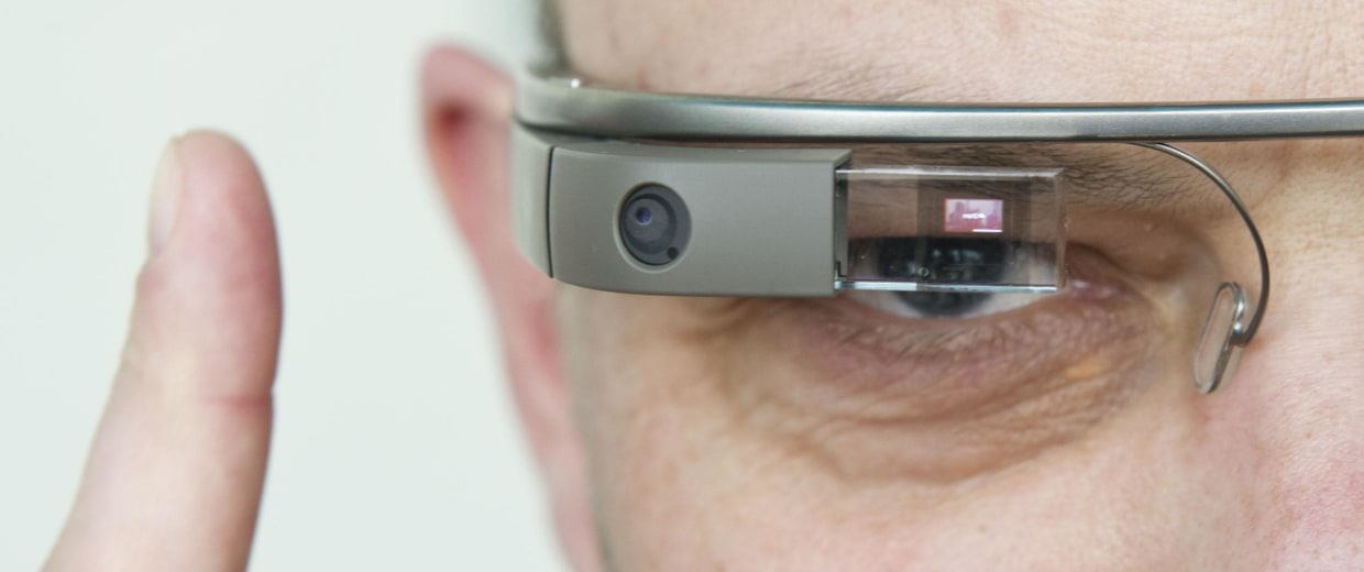 Image: A man tests Google Glass.