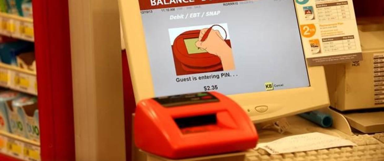 Cash register screen at Target store