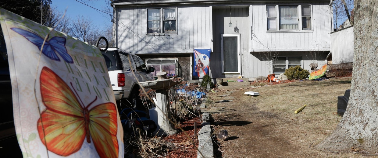 Image: The house were two childrend died after apparently getting trapped inside a hope chest